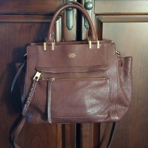 Vince Camuto Brown leather satchel with crossbody